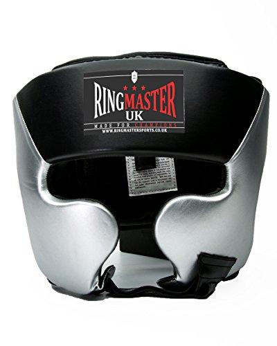 RingMasterUK casco de boxeo de piel sintética, color plateado/negro, Hombre Mujer, negro/plateado
