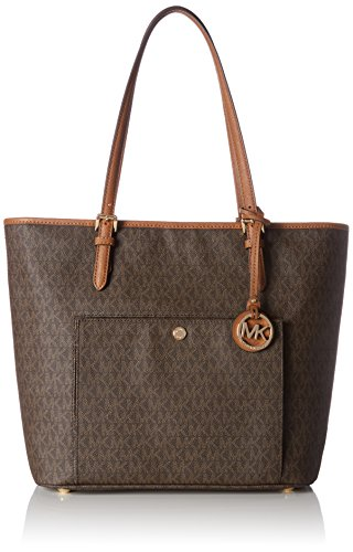 Michael Kors Damen Jet Set Item Lg Tz Snap Pckt Tote, Braun (Brown), 6x30x40 centimeters (Interior Zip Pocket)