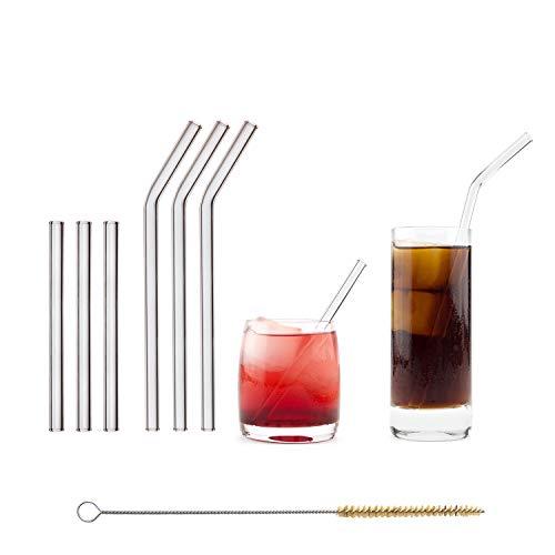 HALM Glas Strohhalme Wiederverwendbar Trinkhalm - 6 Stück, 2 Größen - Glastrinkhalme +...