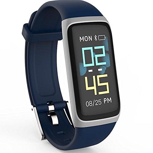 JINSHENG Smartwatch durch 21 S für Android 4.4 iOS Bluetooth Kalorienverbrauch Touch Sensor Impuls Tracker Schrittzähler Activity Tracker NRF 52832 - Blau
