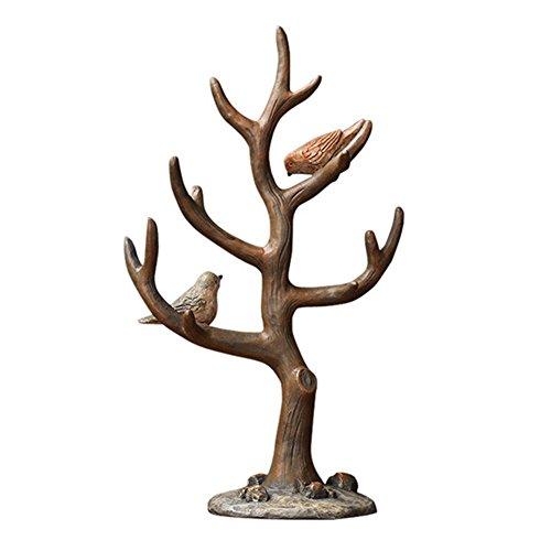Everpert Résine 2 oiseaux Branche d'arbre Bijoux Organiseur Clé de stockage de support