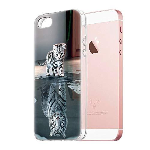 Zhuofan Plus Coque Apple iPhone 5, Silicone Transparente avec Motif Design Antichoc Housse de Protection TPU 360 Bumper Souple Case Cover pour Apple iPhone 5-4 Pouces, Katzentiger