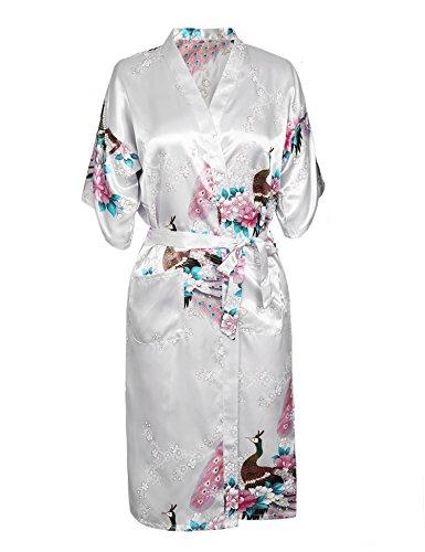 Aibrou Femme Motif Exotique Paon Fleur Kimono chemise de nuit Satin Peignoir (Medium, longue Blanc)