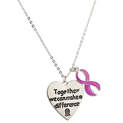 Lux Accessories Breast Cancer Awareness Together We Can Make A Difference Bow Pendant Necklace