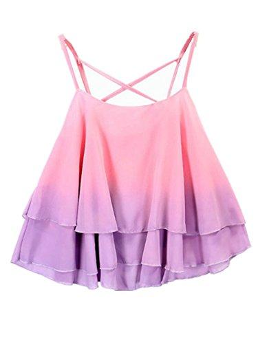 Blansdi Damen Sommer Elegant Lässige Farbverlauf Strap Chiffon Shirt Weste Obeteile Ärmellos Volants Kragen Locker Kurz Tops Vest Eine Größe Rosa Lila