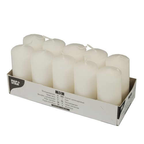 Velas, 10 unidades, color blanco