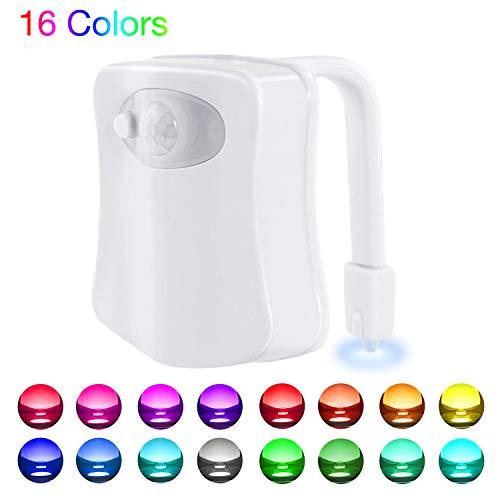 Websun Motion Sensor WC Nachtlicht, WC Licht mit 16 Farben Wechselnde LED Toilette Licht Sitzleuchte DetektorToilette Motion Aktiviert WC-Schüssel Licht