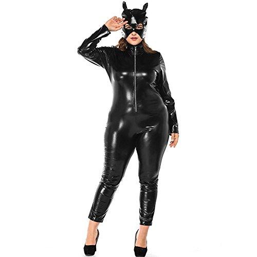 Übergröße Katze Kostüm - Costour Damen Schwarze Katze Halloween Kostüm Partykleidung Aufführung Cosplay Übergröße PU
