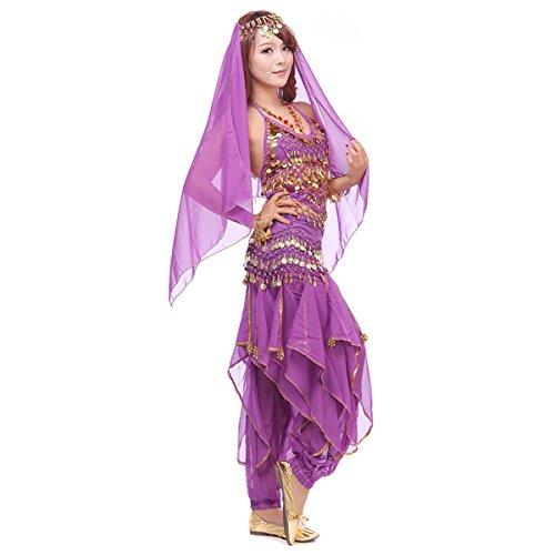 Stoff Bauchtanz Kostüm Für - Best Dance, Bauchtanz-Kostüm-Set, 4-teilig, mit Oberteil, Hose, Hüftschal, Schleier und mit Münzen