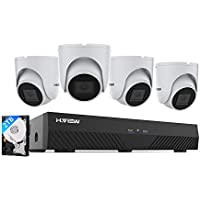 H.VIEW 8CH 5MP POE CCTV System with 2TB Hard Drive H.265 NVR and (4) 5MP 2.8mm Lens IP Camera for Home/Business Surveillance, Audio, Plug and Play, IP67 Waterproof (2 Years Warranty)