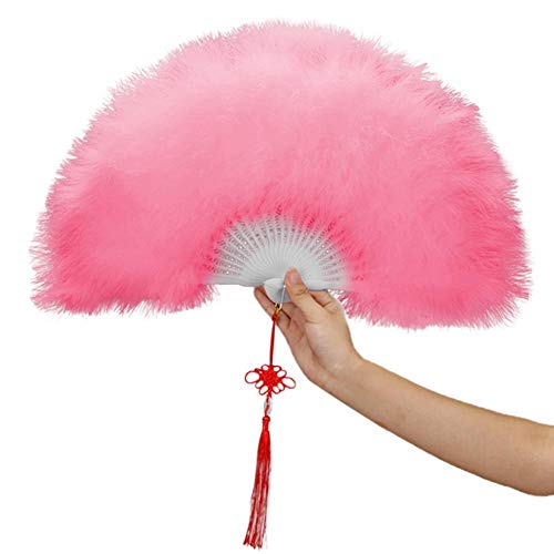 LYRLNY Faltfächer, Vintage Frauen Lady Hochzeit Showgirl Dance Elegante große Feder Falten Hand Fan Decor Decal Dance rosa Feder Fan chinesische Kultur