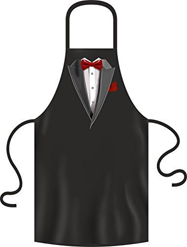 RAHMENLOS Original Grill-Schürze für den gepflegten Auftritt: Smoking Fliege rot (Für Smoking Schürze Männer)