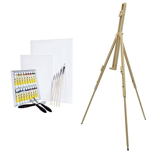Artina 29-TLG. Acryl Malset Feldstaffelei Malaga inkl. 18 Acrylfarben 2 Leinwände 5 Pinsel & mehr für viel Malspaß -