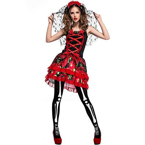 �dchen, Halloween Karneval Blumen Braut Geisterhafte Kleid, Ghost Bride Stage Dress Up Show Kostüm,S ()