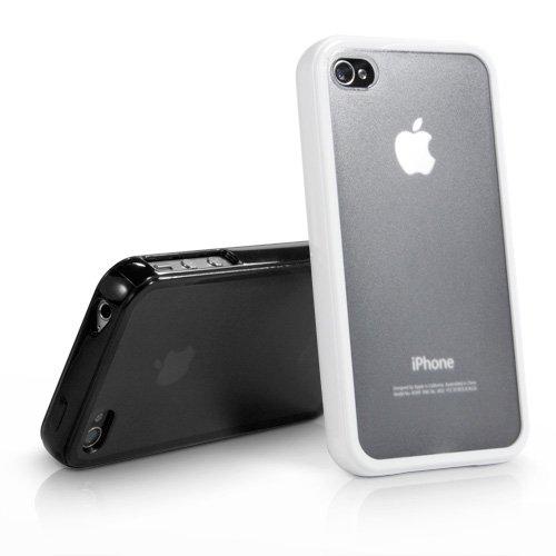 BoxWave Coque iPhone 4S UniColor Coque TPU pur, Anti-dérapante avec arrière Transparent mat et bords solides et housses iPhone 4S (Blanc givré)