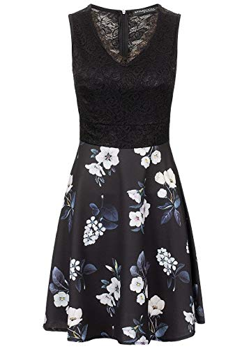 Styleboom Fashion® Damen Kleid Lace V-Neck Flower Dress ärmellos schwarz Weiss blau, Gr:M