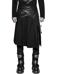 Punk Rave Hommes Dieselpunk Kilt Homme Steampunk Gothique Noir Simili Cuir  LARP 4e853535279