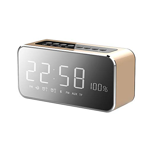 ZYLFN Alarmtuhr Radio, Wireless Bluetooth Lautsprecher, Digital Alarm Clock USB Charger für Schlafzimmer mit FM Radio/USB Charging Port/AUX-in und Cell Phone Stand - Digital Hands Free Cell Phone