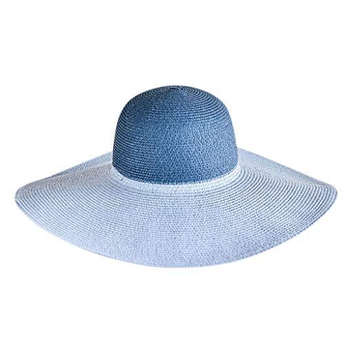Harpily Frau Strand des Faltbaren Visiers Hut,Mode Unisex des Damensommerstrandes GroßEr Strohhutsonnenhut Im Freien Hut Supplies Hut Prop Sunglass Hut