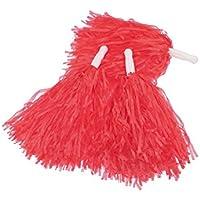 12 Piezas de Pompones de Animadora Pompón de Plástico de Animadora para Equipo de Deporte Animador de Espíritu (Rojo)