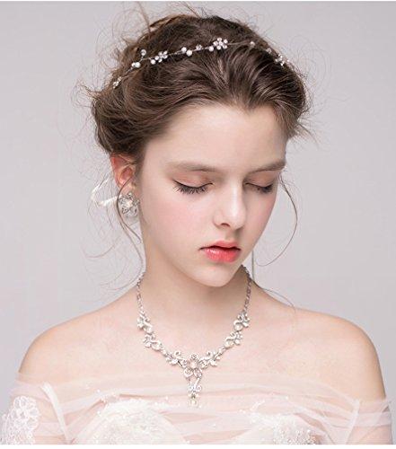 Dayiss Süß Braut Haarschmuck Blumen Diademe mit Kristall Perlen Hochzeit Vintage Silber und Gold (Silber) - 5