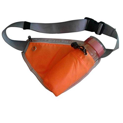 Vertvie Unisex Mode Outdoor Bauchtasche Hüfttasche Gürteltasche Sporttasche Satteltasche mit Flaschenhalter Multifunktionstaschen Fitnesstasche Handy-Paket Beutel Orange
