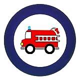 """Türknauf """"Feuerwehrauto"""" dunkelblau Holz Buche Kinder Kinderzimmer 1 Stück Fahrzeuge"""