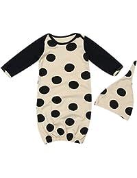 Traje de dormir para bebé recién nacido de Domybest, consta de dos piezas: saco de dormir de manga larga con estampado de puntos negros…