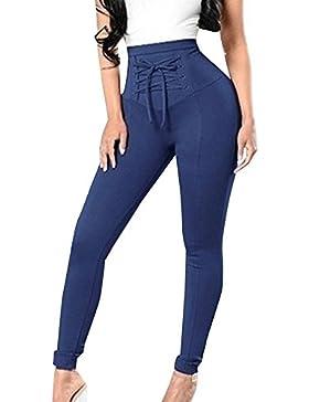 Pantalones Lápiz Mujer Primavera Otoño Elegantes Largas Cintura Alta con Cordones Joven Bastante Color Sólido...
