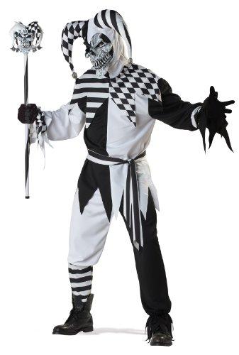 Schwarz Und Weiß Evil Jester Kostüm - California Costumes Nobody's Fool Kostüm