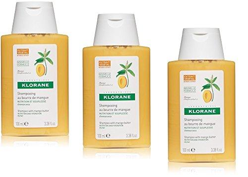 3KLORANE SHAMPOO den Butter-Mango 100ml Stück Reise nährend und Werkstatt trockenes Haar