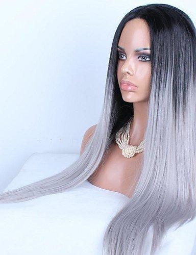 Perruque & xzl Perruques Fashion cheveux longue ligne droite de mélange populaire européen et américain de couleur noir et blanc