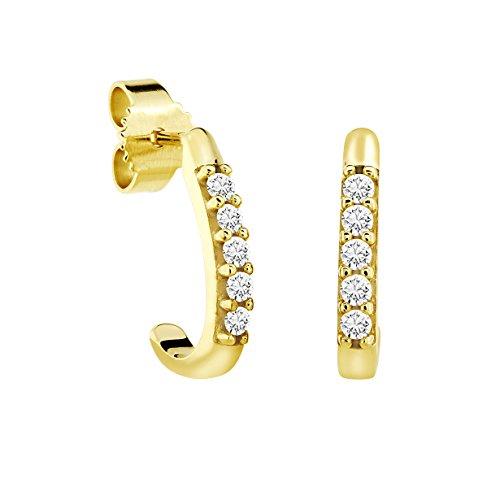 Diamond Line Damen - Ohrstecker 375er Gold 10 Diamanten ca. 0,20 ct., gelbgold