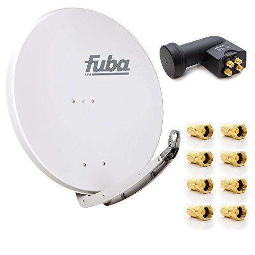 Fuba DAA 850 W Digital Sat Schüssel Weiß 85x85cm Full HD 3D TV + LNB Quad 0,1 dB PremiumX PXQS-SE Quattro Switch zum Direktanschluss von 4 Teilnehmern Digital HDTV Full HD 3D tauglich + 8x F-Stecker 7mm vergoldet