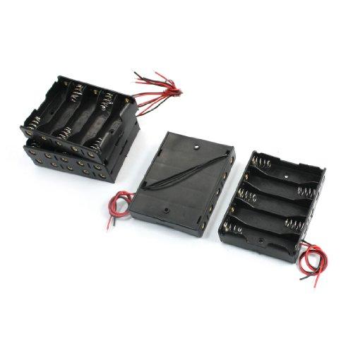 sourcingmap® 5 Stücke Kunststoff 5 x 1,5 V AA Behälter Halter B 15 cm Kabel
