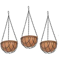 COIRGARDEN-Coir Hanging Basket 8 INCH 3 Pieces - Coco Flower POTS Basket for Gardening