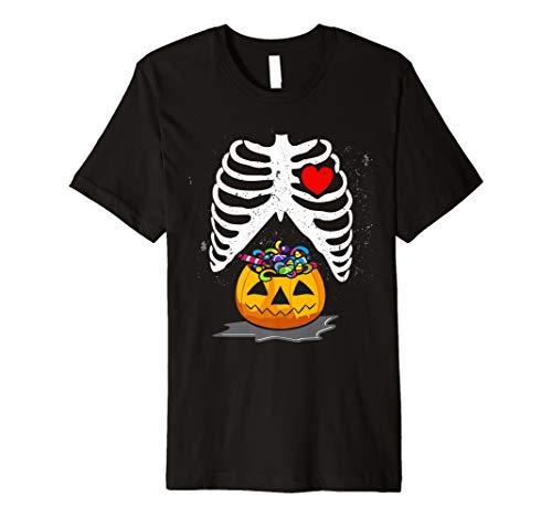 Halloween Schwangere Schwangerschaft Ankündigung Shirts Skelett