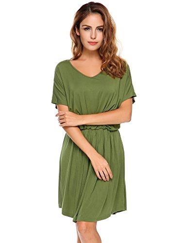 Meaneor Damen Blusenkleid Casual Tunika Sommerkleider Kurzarm Lose Fit Tshirtkleid Freizeitkleid Strandkleid Grün