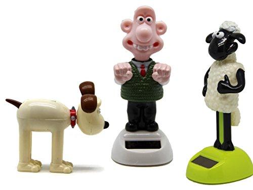 Bada Bing 3er Set Solar Wackel Figur Wallace, Gromit Und Shaun Serie Stars Fernsehen Kinderserie Lizenzartikel 84 / 85 / 83