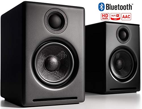Audioengine A2+ Wireless 60W Aktiv-Desktop PC Boxen/PC Lautsprecher | Eingebauter 24Bit DAC & Verstärker | aptX Codec, USB-Verbindung, 3,5 mm-Klinken- sowie Cinch-Eingänge (Bluetooth, Schwarz) Usb-audio-codec