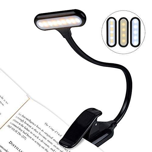 LED Klemmleuchte, LEHXZJ LED Leselampe Buch Klemme Dimmbares mit 9 LEDs, 3 Helligkeitseinstellungen, Flexibel LED Buchlampe für Nacht Lesen, Kindle, Notenständer, Schlafzimmer