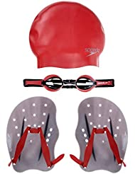 Speedo Training Set Performance Pack - Palas de mano para natación, color rojo, talla M