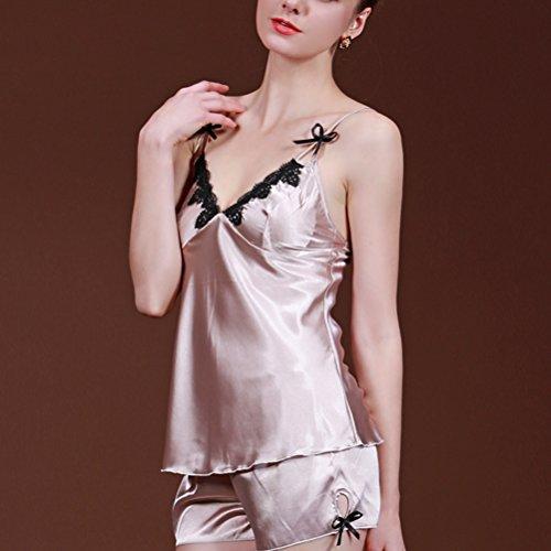 Zhhlaixing 2pcs Women Sexy Design Sling Lingerie Set Sleepwear Nightwear Outfits Camel