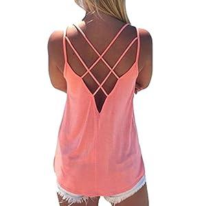 Yying Damen Träger Top Elegant Rückenfrei Ärmellos Shirt Sexy Lose T-Shirt Elegant Strand Tank Top Vest Einfach Jersey Freizeit Bluse Hemd Oberteil