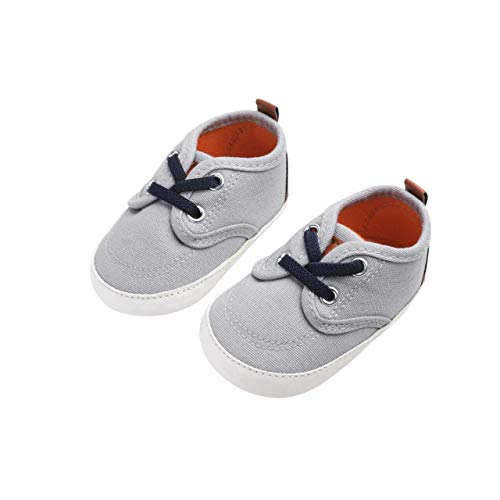 DEBAIJIA Krabbelschuhe Segeltuch Sneaker mit Rutschfester Sohle aus Silikon Kleinkind Schuhe Geeignet für 6-18 Monate Baby Junge Mädchen Klettband Slip-On-Verschluss