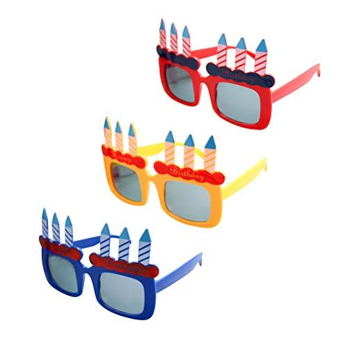 BESTOYARD BESTOYARD Happy Birthday Kerze Sonnenbrillen Neuheit Sonnenbrillen für Geburtstagsgeschenk Party Supplies 3 STÜCKE