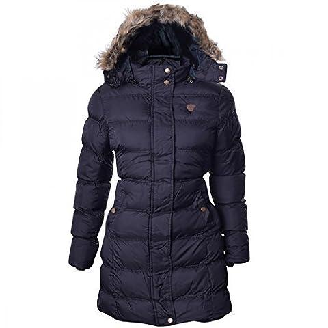 Womens Brave Soul Long Fur Trimmed Hooded Padded Puffer Parka Winter Jacket Coat UK 12/ US 10/ AUS 14/ EU 40/ Medium Black