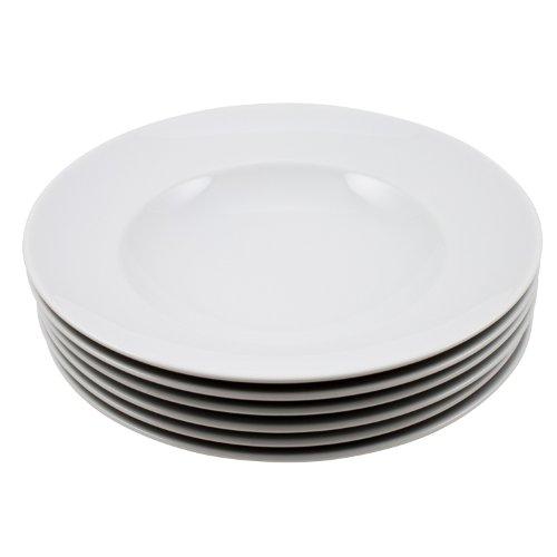Retsch Arzberg Pastateller 6er Set aus Porzellan Design Blanko 30cm, weiß