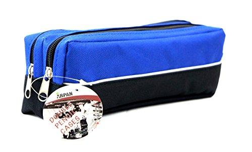 Preisvergleich Produktbild Arpan XL Federmäppchen, doppelter Reißverschluss, Stoff , ideal für Schule, Uni,Make-up 25 x 5 x 8 cm blau