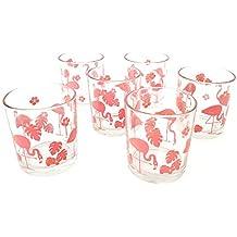 takestop® Juego de 6 Vasos Flamenco Rosa Flores de Cristal Flamenco de Mesa Made Italy